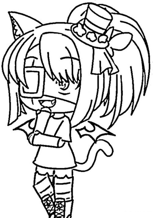 Fox girl is missing eyes Coloring Page