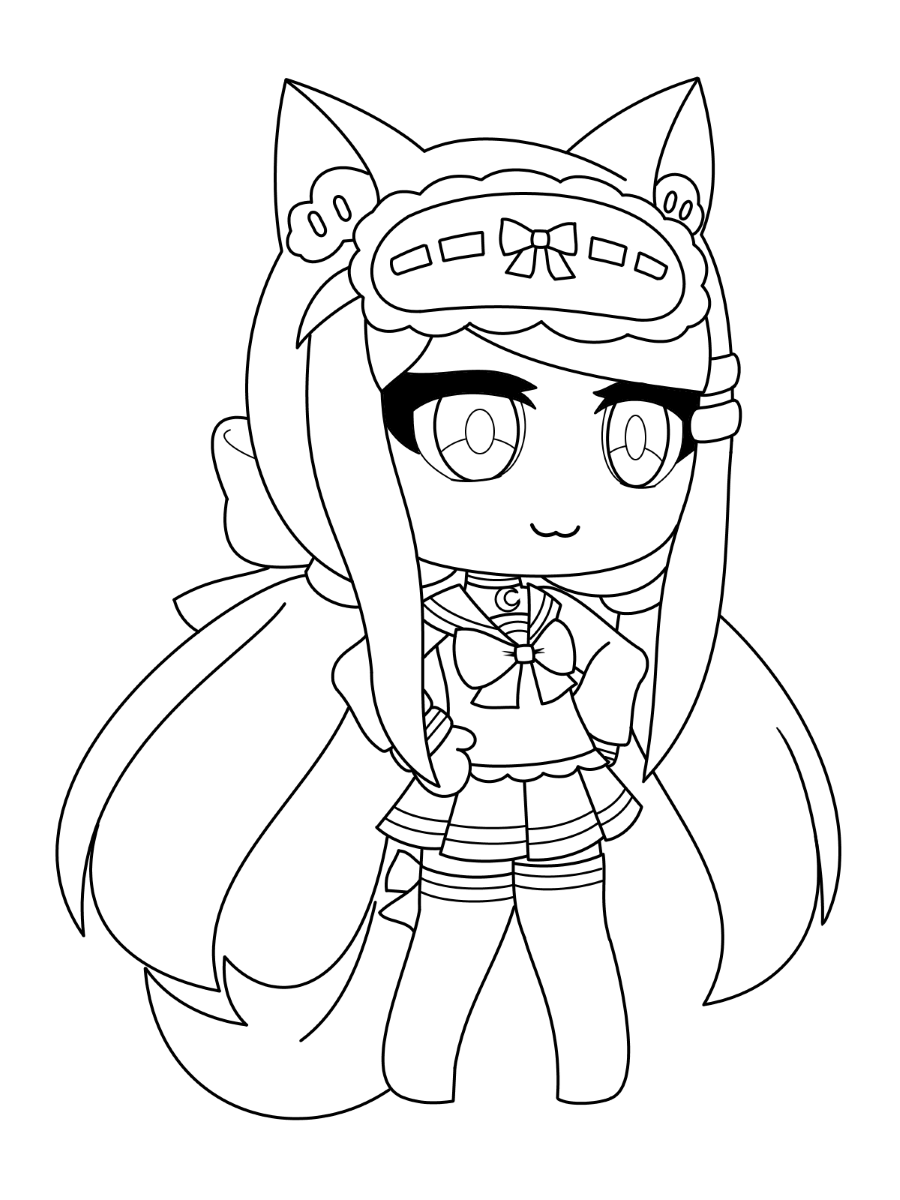 Fox girl is wearing a sleep mask Coloring Page