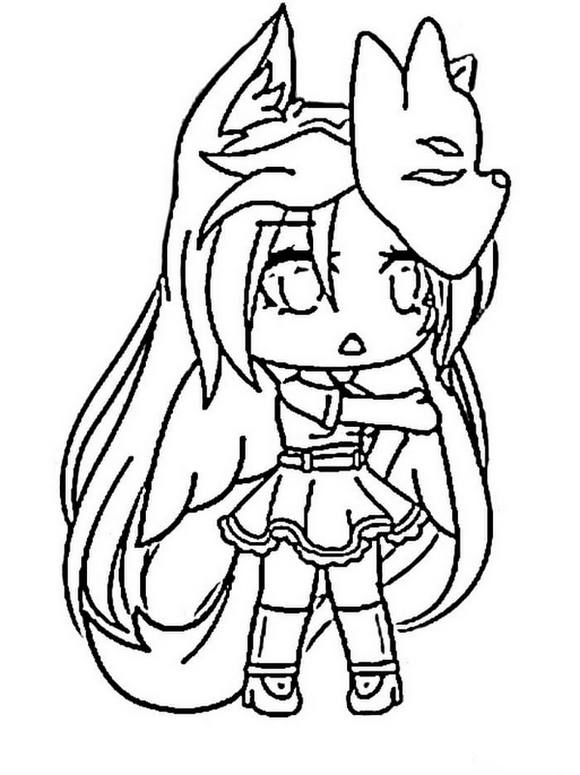 Fox girl is wearing fox mask Coloring Page