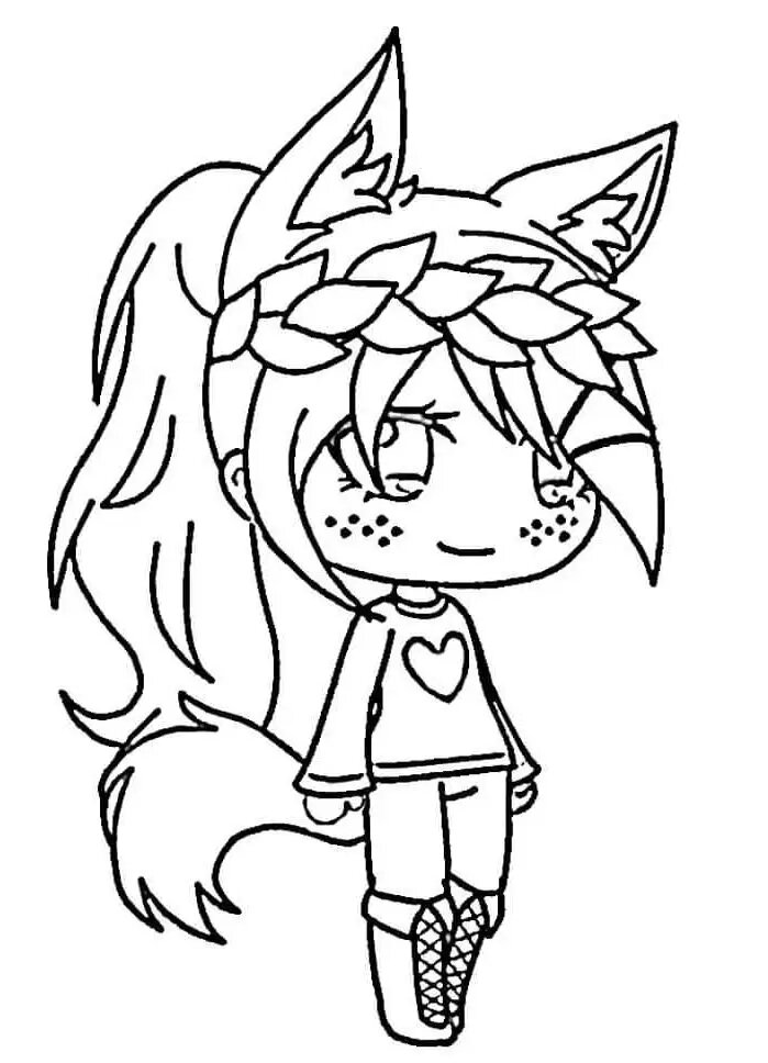 Fox girl with freckled face is wearing laurel wreath Coloring Page