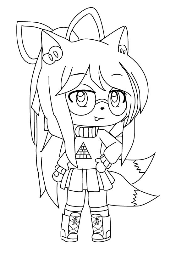 Fox girl with two tails Coloring Page