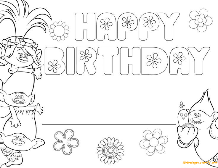 Free Trolls Happy Birthday Coloring Pages - Cartoons Coloring Pages - Free  Printable Coloring Pages Online