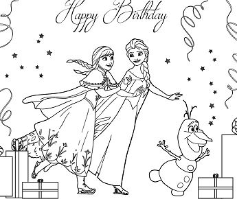 Frozen Cast Ice Skating Coloring Page