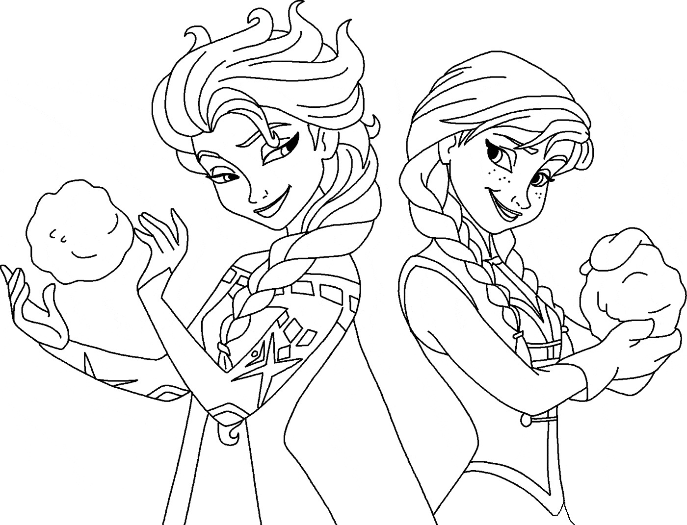 Frozen Elsa And Anna Coloring Page