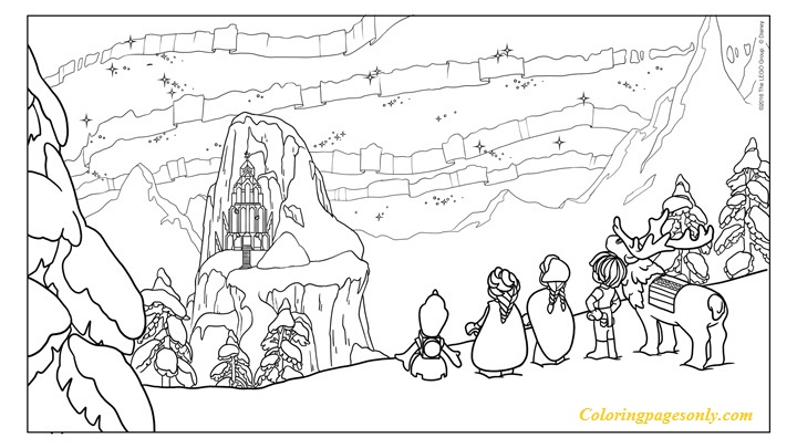 Frozen Northern Lights The Ice Castle Coloring Page Free Coloring Pages Online