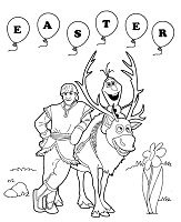 Frozen Sven Olaf And Kristoff Easter Coloring Page