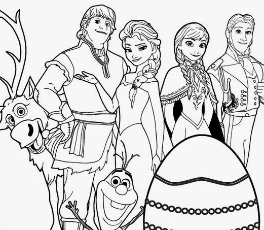 Frozen With Easter Egg Coloring Page