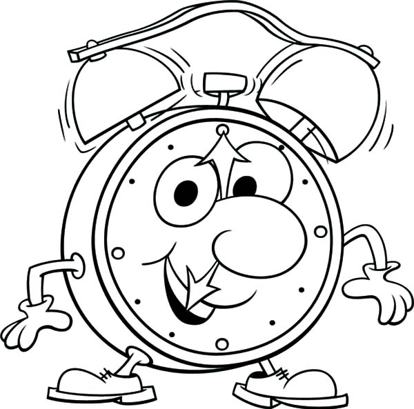 Funny Alarm Clock Is Walking Coloring Page