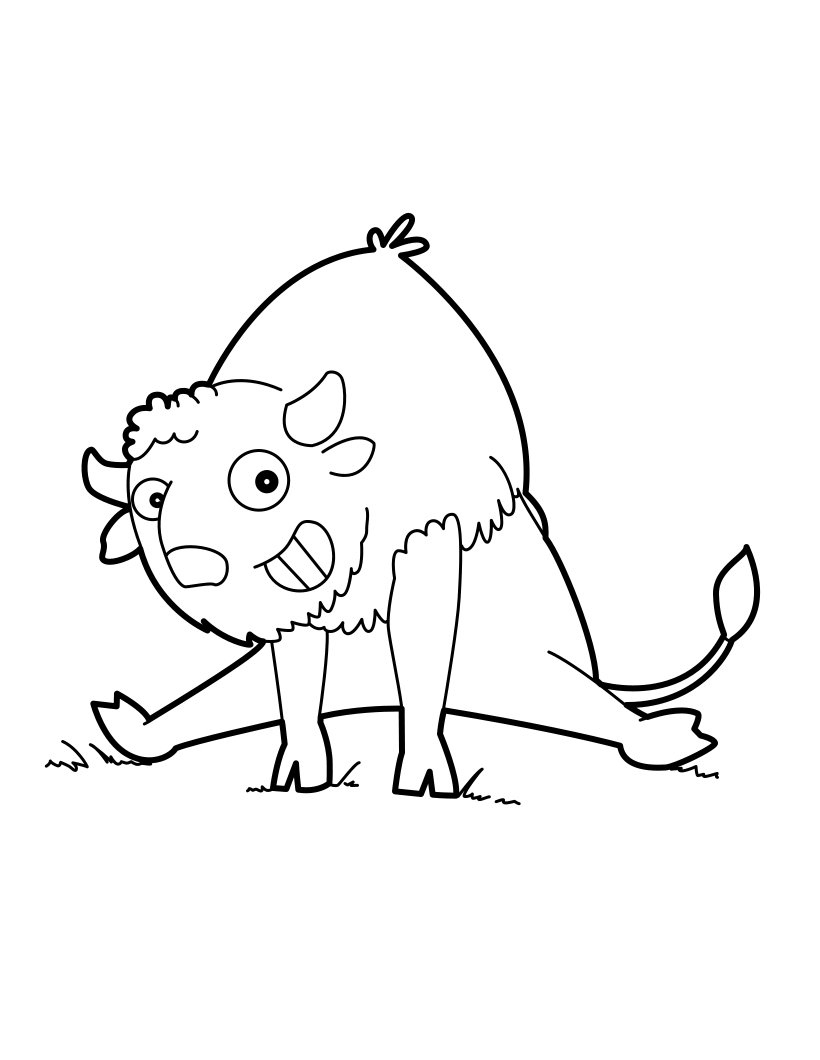 Funny Buffalo Doing Exercise Coloring Page