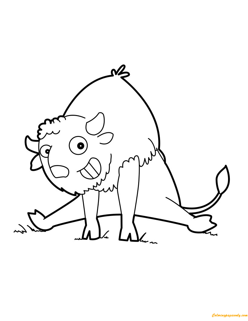 Free coloring pages for exercise - Funny Buffalo Doing Exercise Coloring Page