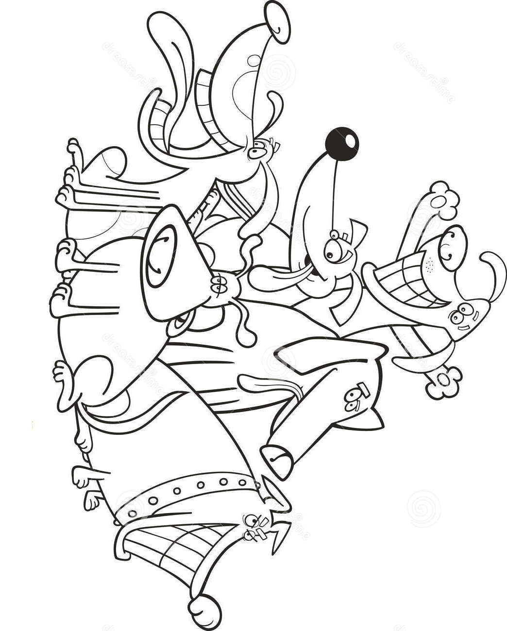 Funny Dogs Coloring Page