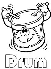 Funny Drum Coloring Page