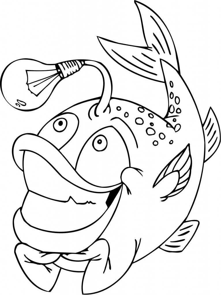 Funny Fish with a Light Bulb Coloring Page