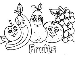 Funny Fruits 1 Coloring Page