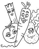 Funny Fruits Coloring Page
