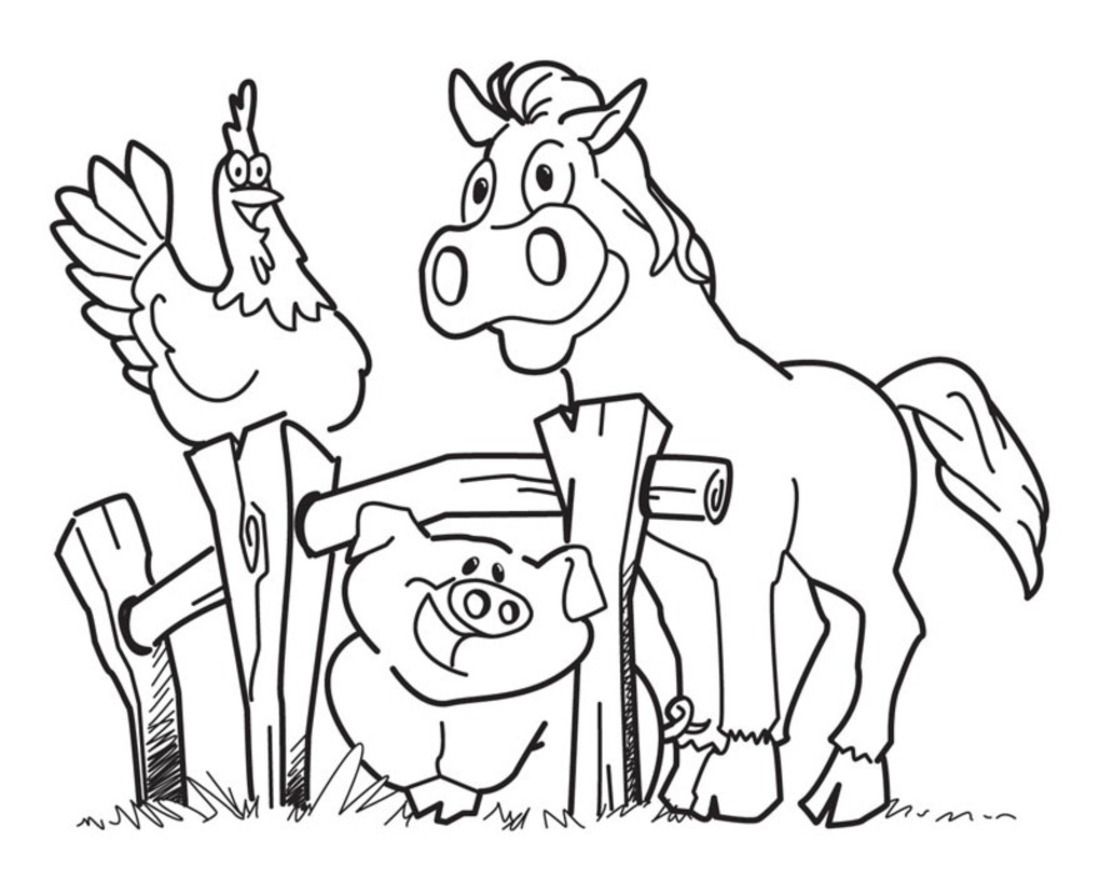 Funny Hen, Horse and Pig Coloring Page