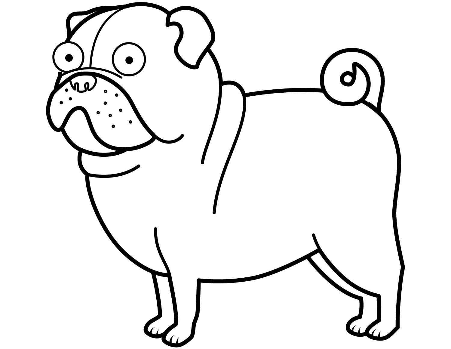 Funny Pug Coloring Page