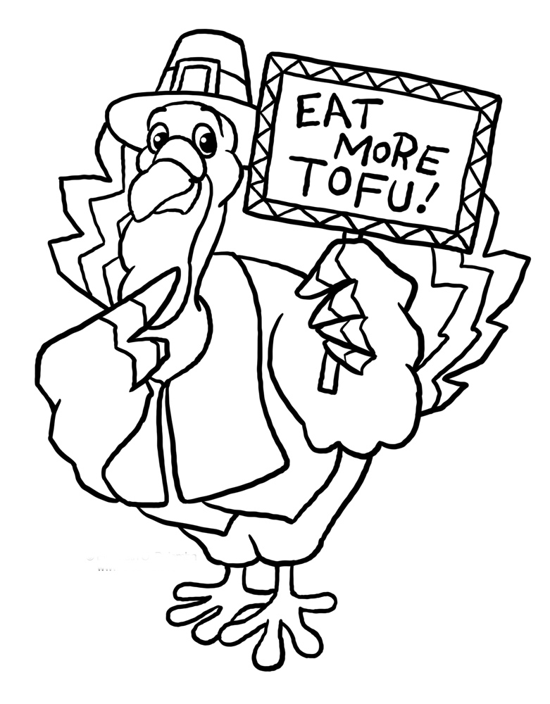 Funny Thanksgiving with A Turkey Coloring Page