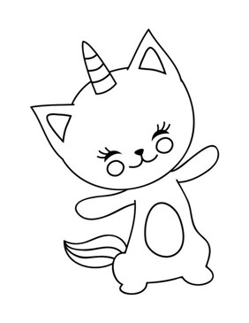 Funny Unicorn Cat Coloring Page