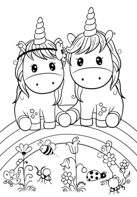 Funny Unicorn Couple Coloring Page
