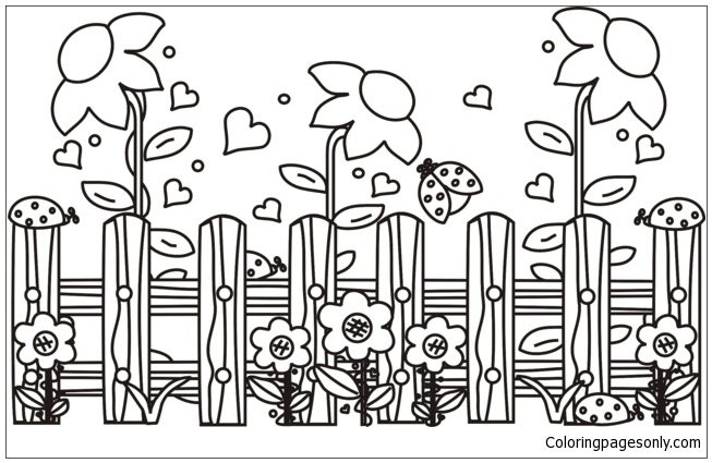 Garden Scene Coloring Page Free Coloring Pages Online