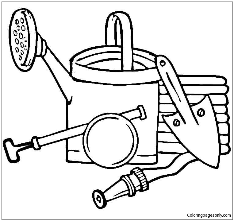 Line Drawing Tool : Garden tools coloring page free pages online