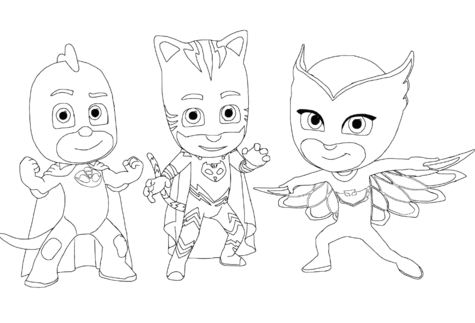 Catboy, Gecko and Owlette from PJ Masks Coloring Page