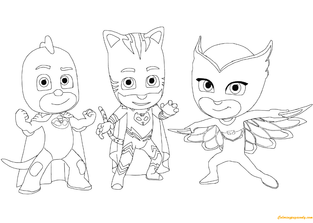 - Catboy, Gecko And Owlette From PJ Masks Coloring Page - Free