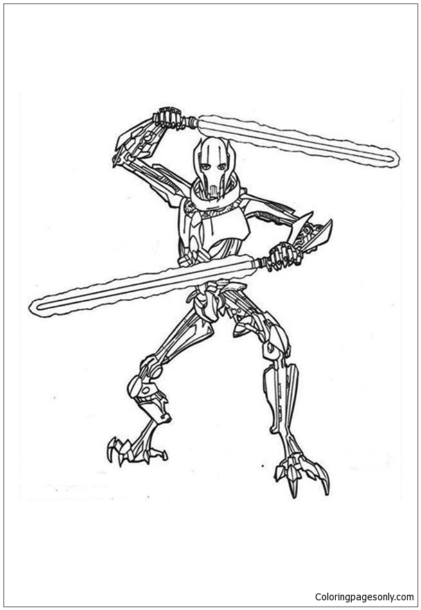General Grievous From Star Wars Coloring Page Free