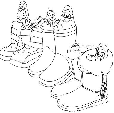 German Boots Filled With Gifts Coloring Page
