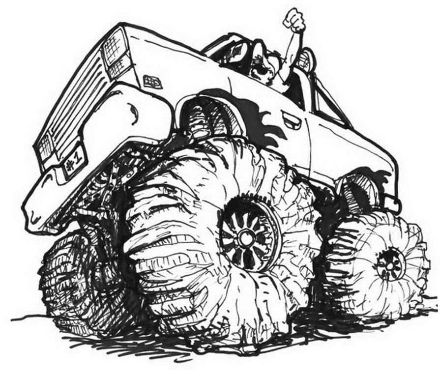 Giant Monster Truck Coloring Page