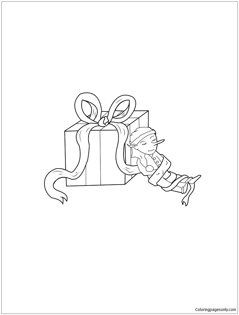 Gift Box With Elf Coloring Page