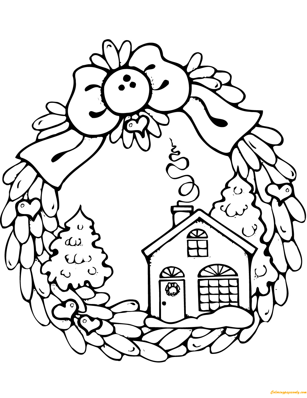 Gingerbread House Christmas Wreath Coloring Page Free Coloring Pages Online