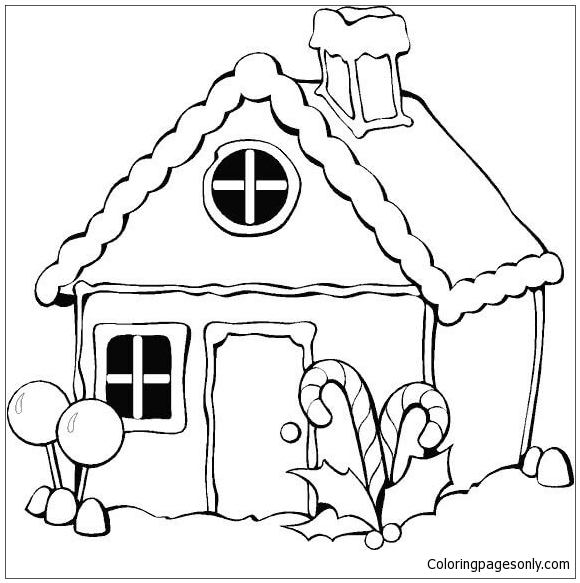 Gingerbread House For Christmas Coloring Page
