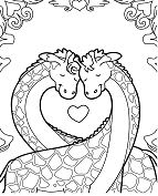 Giraffes In Love Coloring Page