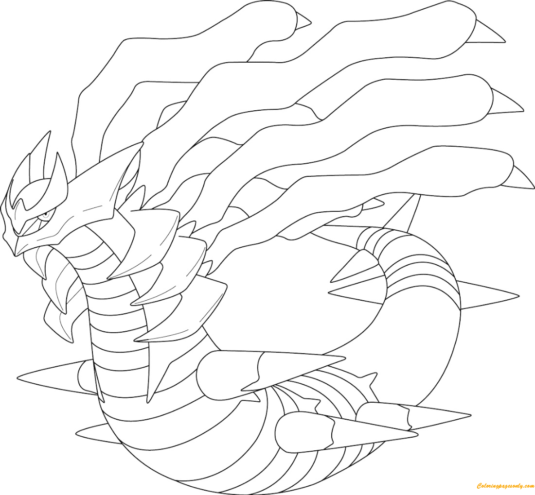 giratina coloring pages - giratina in origin form from pokemon coloring page free