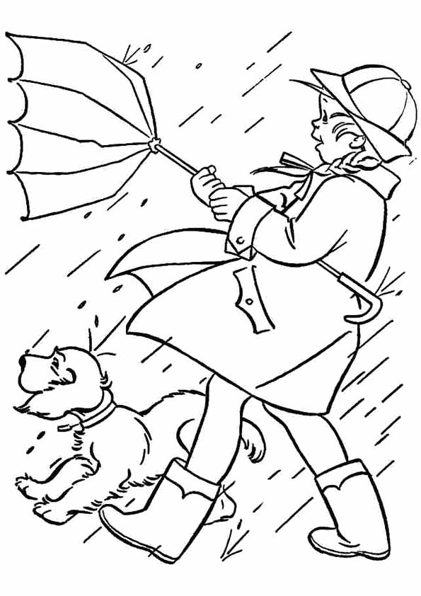 Girl And Dog Are In The Rain Coloring Page