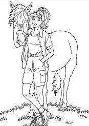 Girl and Horse Coloring Page