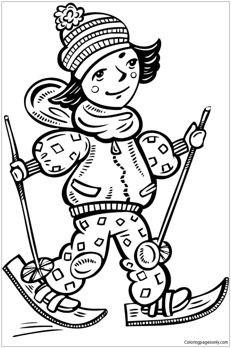Girl Cross Country Skiing Coloring