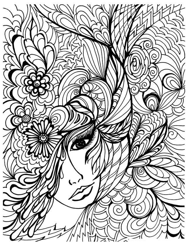 Girl Face Vegetation Coloring Page