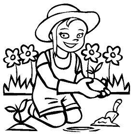 Girl gardening Coloring Page