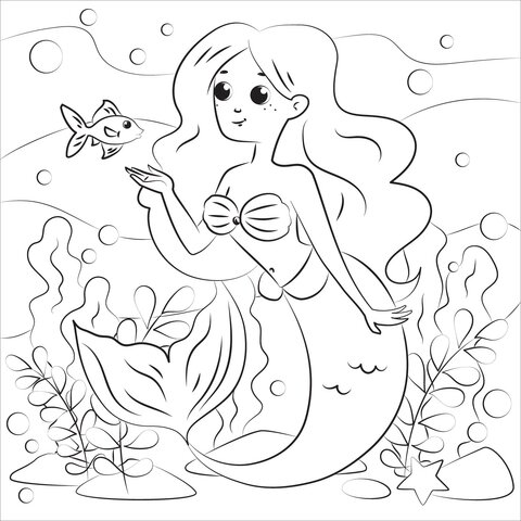 Girl mermaid with blackhead