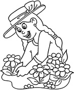 Girl planting flowers