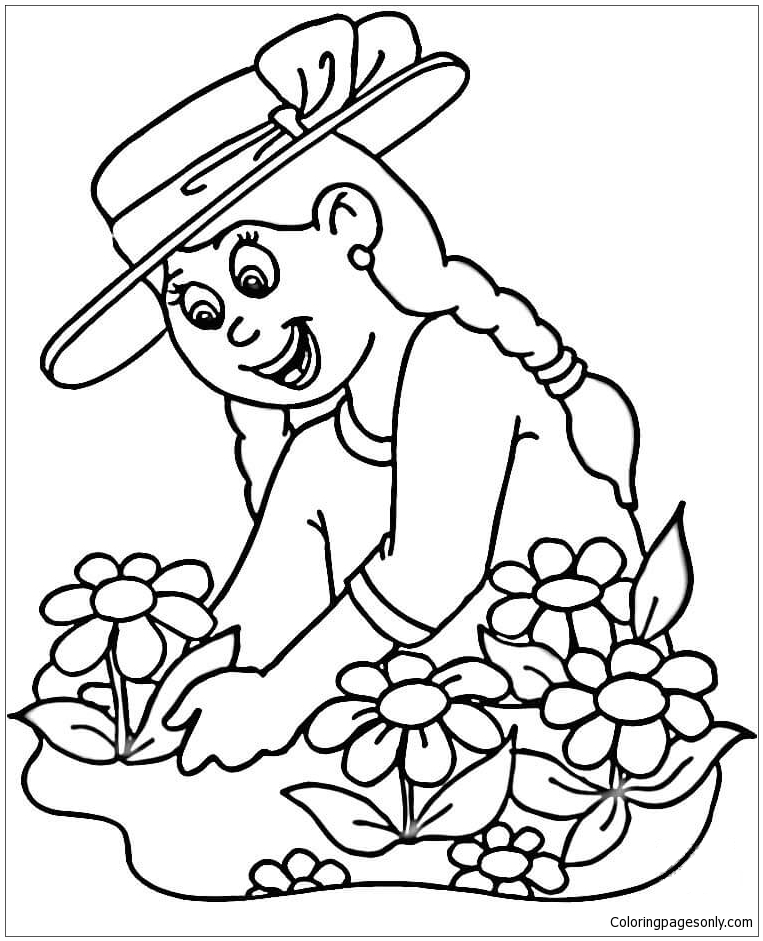 Girl Planting Flowers Coloring Page