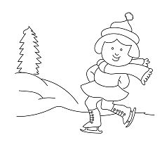 Girl Playing in Winter Coloring Page