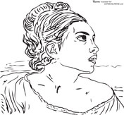 Girl Seated in a Cemetery by Eugene Delacroix Coloring Page