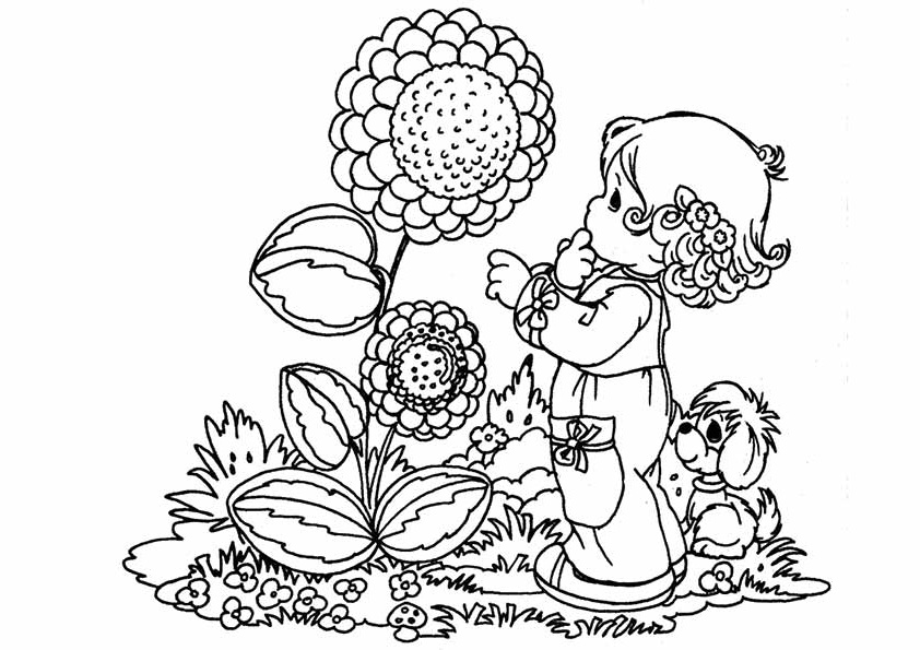 Girl Seeing at Sunflowers Coloring Page