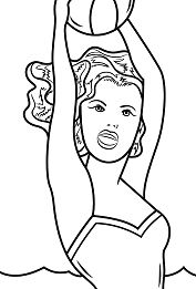 Girl with Ball By Roy Lichtenstein Coloring Page