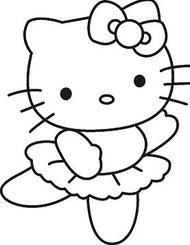 Girls Hello Kitty Coloring Page