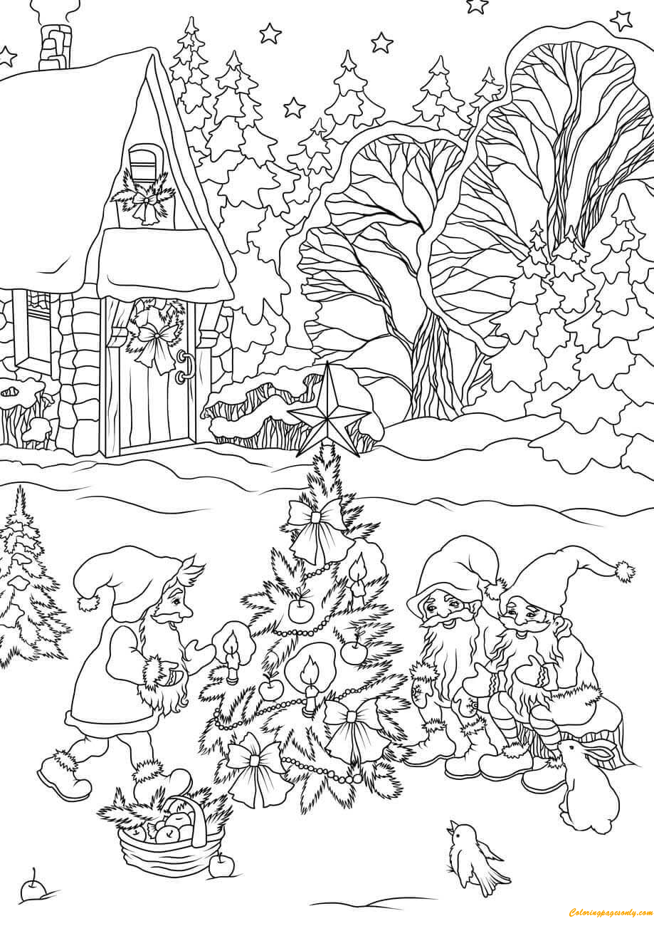 Gnomes Decorating A Christmas Tree Coloring Page
